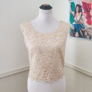 Vintage 1950s Tan / Nude Lace Cropped Blouse